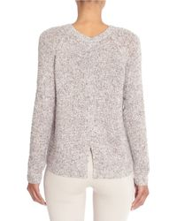 NIC+ZOE - Gray Marled Split-back Sweater - Lyst