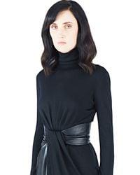 Vionnet - Black Roll Neck Leather Dress - Lyst