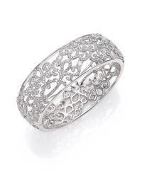 Adriana Orsini | Metallic Garden Gate Pavé Crystal Bangle Bracelet/silvertone | Lyst