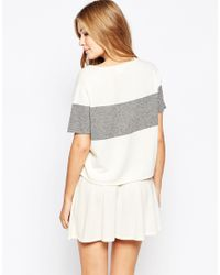 Ganni - Gray Striped Cashmere Short Sleeve Sweater - Lyst