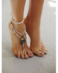 Free People | White Macrame Anklet | Lyst
