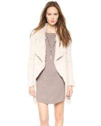 June - Natural Knit Fur Coat - Black - Lyst