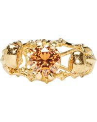 Alexander McQueen | Metallic Gold Two Skeletons Ring | Lyst