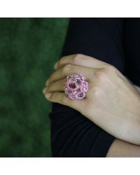 Wendy Yue Pink Multi Color Sapphire Flower Ring