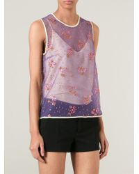 Mary Katrantzou Purple Sheer Glitter Tank Top