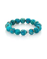 Nest | Blue Turquoise Jasper & Sterling Silver Logo Beaded Stretch Bracelet | Lyst