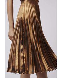 TOPSHOP Metallic Foil Pleated Midi Skirt