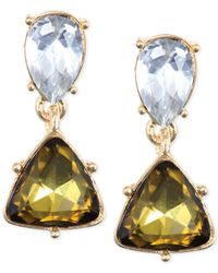 Anne Klein - Metallic Gold-Tone Khaki Crystal Drop Earrings - Lyst