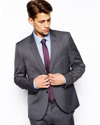 French Connection - Gray Slim Fit Suit Jacket Pindot for Men - Lyst