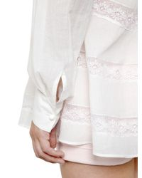 Philosophy Di Lorenzo Serafini | White Cotton Muslin Shirt With Lace Inserts | Lyst