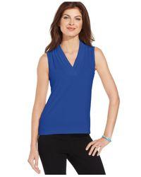 Jones New York - Blue Sleeveless Pleated V-Neck Top - Lyst