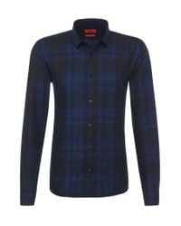 HUGO | Blue 'ero' | Slim Fit, Cotton Button Down Shirt for Men | Lyst