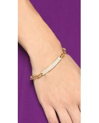 Michael Kors | Metallic Pave Id Toggle Bracelet - Gold/clear | Lyst