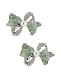 Betsey Johnson - Metallic Silvertone Embellished Bow Stud Earrings - Lyst