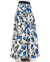 MILLY Multicolor Floral-print Ball Skirt