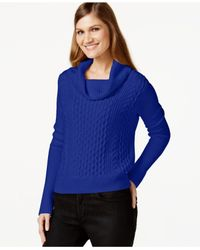Cece by Cynthia Steffe | Blue Cowl-neck Cable-knit Sweater | Lyst