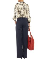 Tory Burch Natural Bambie Printed Silk Blouse