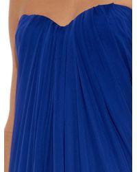 Alexander McQueen Blue Silk-Chiffon Strapless Gown