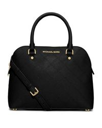 MICHAEL Michael Kors | Black Cindy Medium Topstitched Saffiano Leather Satchel | Lyst