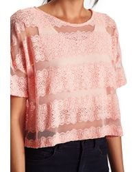 Forever 21 | Pink Striped Lace Top | Lyst
