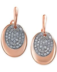 Effy Collection | Metallic Effy Diamond Oval Disc Earrings (1/4 Ct. T.w.) In 14k Rose Gold | Lyst
