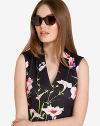 Ted Baker   Black Round Contrast Sunglasses   Lyst