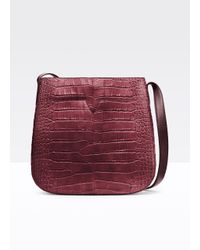 Vince Gray Crocodile-Embossed Leather Messenger Bag
