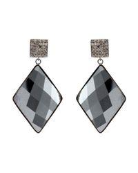Adornia | Black Hematite And Champagne Diamond Mondrian Earrings | Lyst