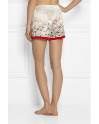 Carine Gilson Red Sakura Floralprint Silksatin Shorts