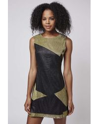 TOPSHOP - Metallic Vally Graphice Patch Work Shift Dress By Jovonna - Lyst