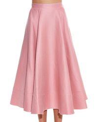 ROKSANDA Pink Textured Wool And Silk-blend Midi Skirt