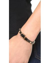 Michael Kors Black Two Tone Buckle Bangle Bracelet