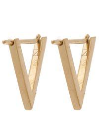 Noor Fares - Metallic Gold Ruby Triangle Hoop Earrings - Lyst
