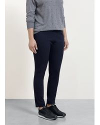 Violeta by Mango - Blue Zip Cotton Trousers - Lyst