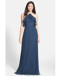 Amsale Blue Ruffled Silk-Chiffon Gown
