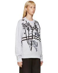 KENZO Gray Grey Embroidered Bamboo Tiger Sweatshirt