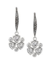 Judith Jack | Metallic Sterling Silver Marcasite 110 Ct Tw and Cubic Zirconia 34 Ct Tw Leverback Drop Earrings | Lyst