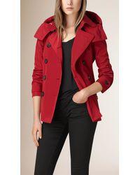 Burberry Red Short Showerproof Trench Coat