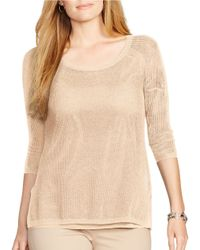 Lauren by Ralph Lauren | Natural Plus Linen-cotton Mesh Sweater | Lyst
