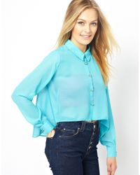 Love | Blue Shirt with Lace Heart Back Detail | Lyst