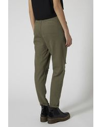 TOPSHOP Natural Ripped Utility Trousers