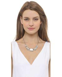 Alexis Bittar - Metallic Crystal Encrusted Articulated Bib Necklace - Silver - Lyst