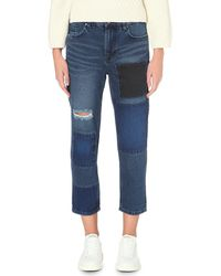 WÅVEN | Blue Aki Boyfriend-fit Distressed Patch Jeans | Lyst
