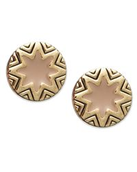 House of Harlow 1960 | Metallic Gold-tone Sunburst And Khaki Enamel Stud Earrings | Lyst