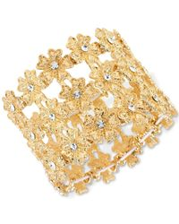INC International Concepts | Metallic M. Haskell For Inc Gold-tone Floral Crystal Three Layer Stretch Bracelet, Only At Macy's | Lyst