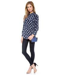 Pour La Victoire Blue Elie Mini Cross Body Bag - Black/white