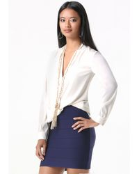 Bebe | White Long Sleeve Surplice Blouse | Lyst