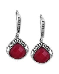 Judith Jack | Red Sterling Silver Ruby Jade 425 Ct Tw and Marcasite 34 Ct Tw Drop Earrings | Lyst