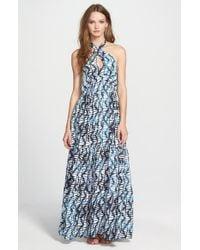 Amour Vert Blue Halter Maxi Dress