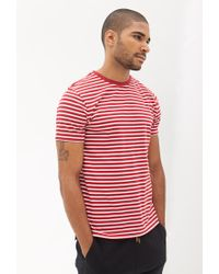 Forever 21 - Red Striped Cotton Tee for Men - Lyst